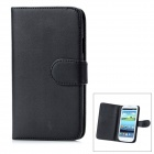 Protective Flip Open PU Leather Case Cover w/ Card Slots for Samsung Galaxy S3/I9300 - Black