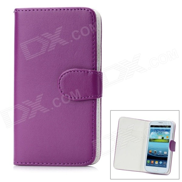 Protective Flip Open PU Leather Case w/ Card Slots for Samsung Galaxy S3 i9300 - Purple