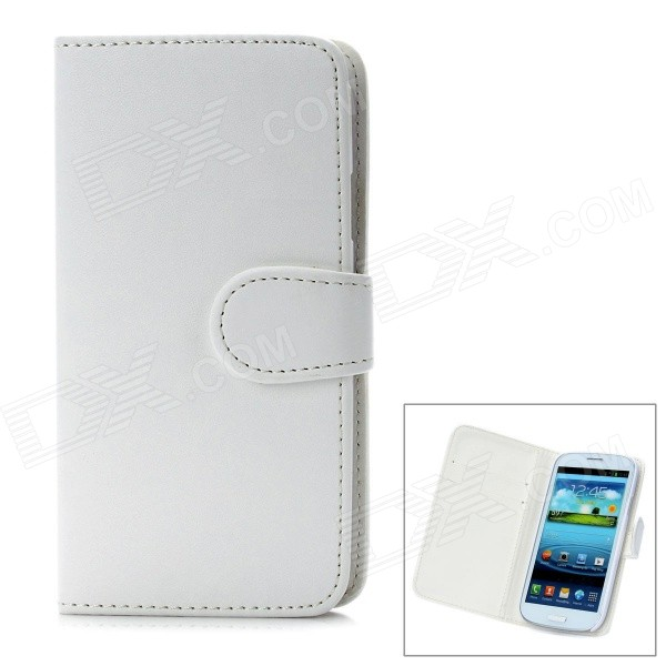 Protective Flip Open PU Leather Case Cover w/ Card Slots for Samsung Galaxy S3/I9300 - White protective flip open pu case w stand card slots strap for samsung galaxy note 3 n9000 white