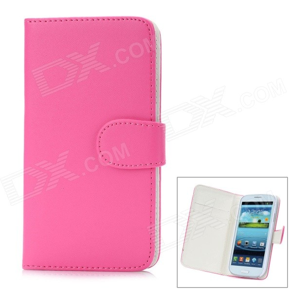 Protective Flip Open PU Leather Case Cover for Samsung Galaxy S3/I9300 - Deep Pink цена