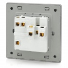 SMEONG Leather Pattern 2-Socket 1-Switch Wall Power Plate - Light Champagne (AC 250V)