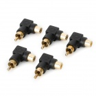 5-5 Right Angle RCA Female to Male Converter Adapters Set - Black + Golden (5 PCS)