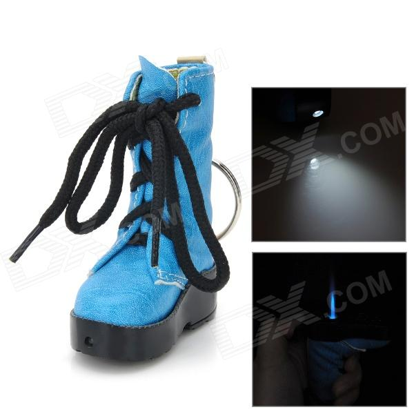 Creative Boot Style Windproof Butane Jet Lighter w/ Keychain / LED - Blue + Black