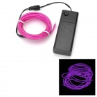 EL-3M Folding Bending 3-Mode Neon Light Cable w / Battery Case - Purple (3m / 2 x AA)