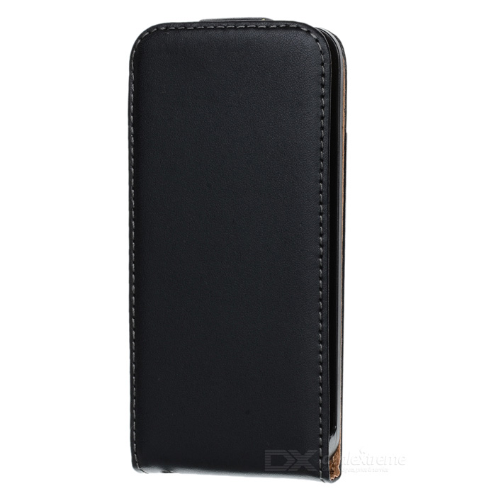 A&T-016 Genuine Leather Protective Flip-Open Case for Iphone 5 - Black