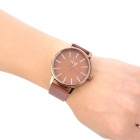 SINOBI 9213 Stylish PU Leather Band Quartz Wrist Watch - Brown (1 x LR626)