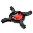 Flaming Wheel USB Powered Cooling Pad Fan Cooler w/ LED Lights for Laptops - Black + Red