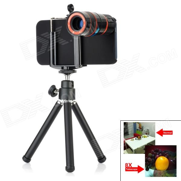 4-in-1 8X Zoom Camera Lens Microscope Set for Iphone 5 - Black clip on 8x zoom optical telescope camera lens universal for smartphone
