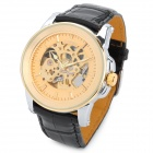 SINOBI 540 Stylish PU Leather Band Mechanical Wrist Watch - Golden + Black