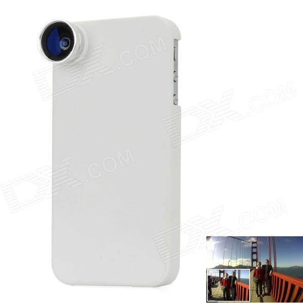A-350 Detachable Wide Angle Lens + Macro Lens w/ Protective Case for Iphone 4/4S - White + Silver led fill in flash light wide angle macro lens for smartphone white