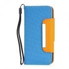 Football Grain Pattern Protective PU Leather Flip Open Case w/ Strap for Iphone 5 - Blue