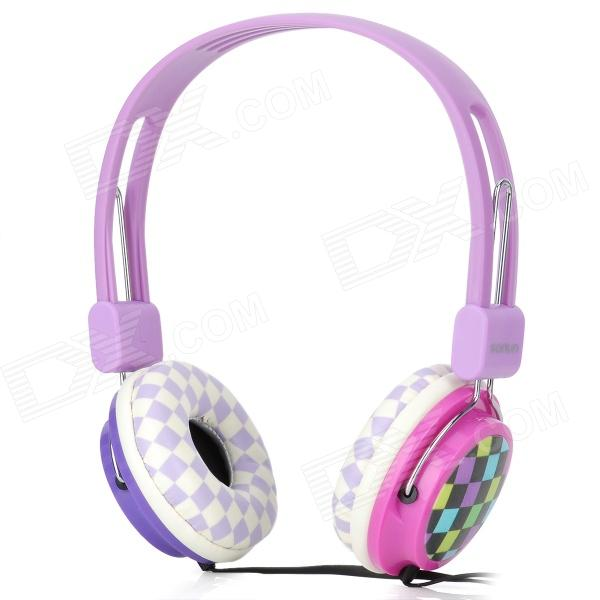 Sonun SN-B01 Stereo Headphones Headset - Purple + White sn 335mp fashion stereo earphone without microphone white red