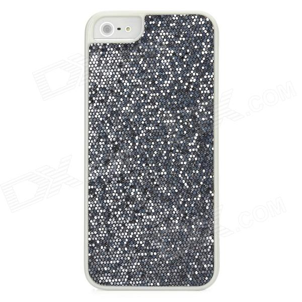 Twinkling Sequin Coating Pattern Protective PC Back Cover Case for Iphone 5 - Silver Grey + White kajsa carbon fiber aluminum coated pc back cover for iphone 7 plus 5 5 grey