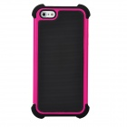 Protective Plastic Hard + Silicone Soft Back Cases Cover Set for iPhone 5 - Deep Pink + Black