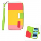 Genuine KALAIDENG PU Leather Protective Case Cover w/ Card Slot for Samsung i9300 - Yellow + Red
