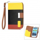 Genuine KALAIDENG PU Leather Protective Case Cover w/ Card Slot for Samsung i9300 - Black + Yellow