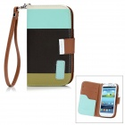 Genuine KALAIDENG PU Leather Protective Case Cover w/ Card Slot for Samsung i9300 - Black + Cyan