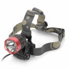 Cree XM-L T6 600lm 3-Mode White Light Headlamp - Dark Grey + Red (1 x 18650)