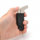 QH Windproof Zinc Alloy Butane Jet Torch Lighter w/ Strap - Black