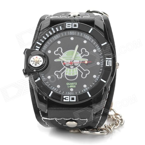 Skull Pattern Dial Style Analog Quartz Wrist Watch w/ Compass - Black (1 x 377)