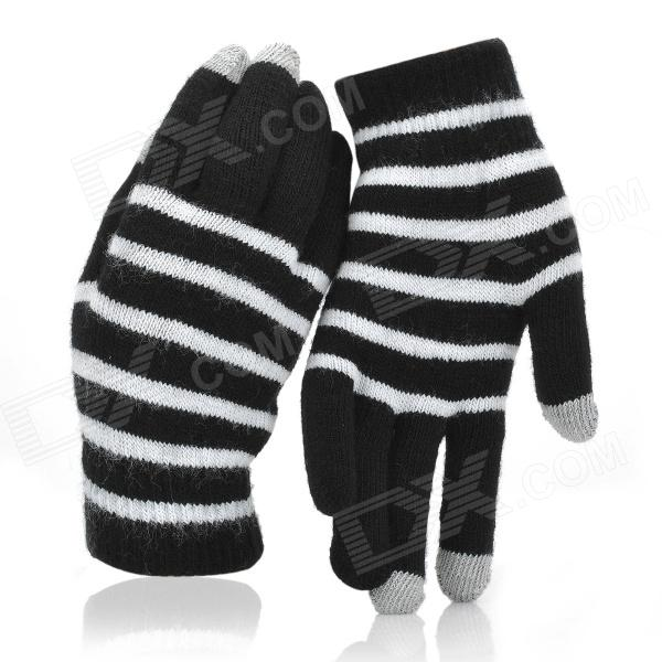 Stripes Pattern Capacitive Screen Touching Hand Warmer Gloves - Black + White (Pair)
