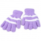 Warm Coral Fleece Verdickte Stripe Gloves - Purple + Weiß (Pair / Free-Size)