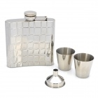ZIPUP 2048 Portable Stainless Steel Curved Liquor Flask Set - Silver (6.0 oz)