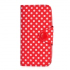 Polka Dot Pattern Protective Flip-Open PU Leather Case for Iphone 5 - Red + White