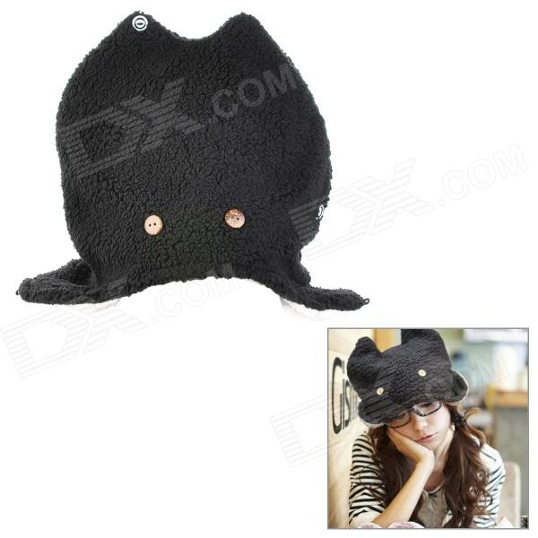 DG0311 Fashionable Rabbit Style Cotton Cap Hat Ear Flaps - Black trendy cotton fedora hat cap black