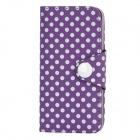 Polka Dot Pattern Protective Flip-Open PU Leather Case for Iphone 5 - Purple + White