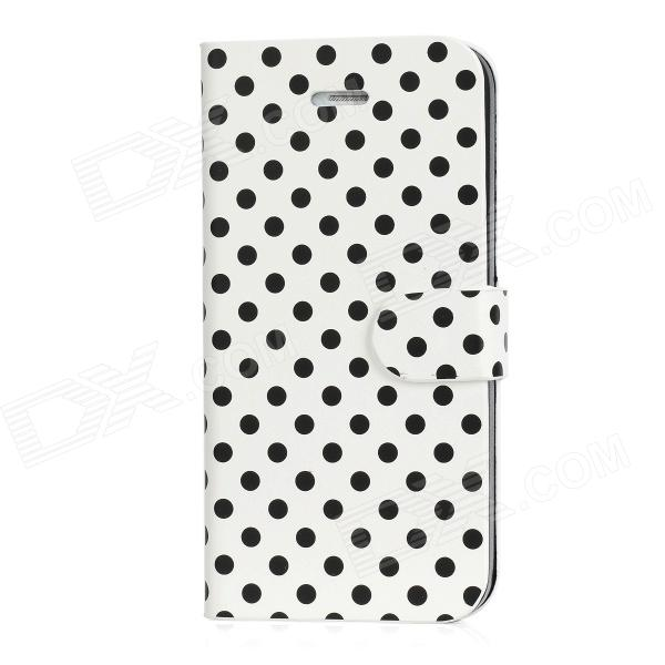 BD-005 Polka Dot Protective PU Leather Flip-Open Case w/ 2 Card Slots for Iphone 5 - White + Black protective flip open pu case w stand card slots for samsung galaxy s4 active i9295 black