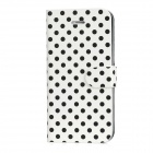 BD-005 Polka Dot Protective PU Leather Flip-Open Case w/ 2 Card Slots for Iphone 5 - White + Black