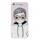 Fashion 3D Cute Boy with Big Glasses Pattern Protective Plastic Case for Iphone 5 - White + Black