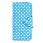 Polka Dot Pattern Protective Flip-Open PU Leather Case for Iphone 5 - Blue + White