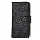 Fashion PU Leather + PC Flip-Open Case Cover with Stand for Iphone 5 - Black