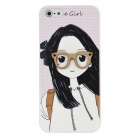Fashion 3D Cute Girl with Big Glasses Pattern Protective Plastic Case for Iphone 5 - White + Black