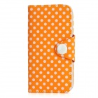 Polka Dot-Muster Schutz Flip-Open PU-Leder Etui für iPhone 5 - Orange + Weiß