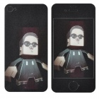 Cool Gangnam Style PSY Pattern Protective Front + Back Screen Stickers for iPhone 4 - Black