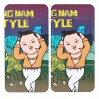 Fun Gangnam Style PSY Pattern Protective Front + Back Screen Stickers for iPhone 4 - Multi-Color