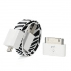 Zebra-Muster Wrist Band-Stil USB Charging & Data Transmission Flat Cable - Black + White