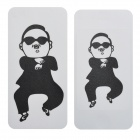 Fun Gangnam Style PSY Pattern Protective Front + Back Screen Stickers for iPhone 4 - Black + White