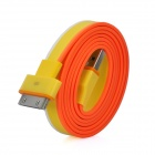 Flache USB-Ladekabel / Datenübertragungskabel für iPad / iPod / iPhone - Gelb + Orange (92cm)