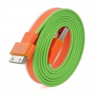 Flat USB Charging / Data Transmission Cable for iPad / iPod / iPhone - White + Orange + Green (92cm)