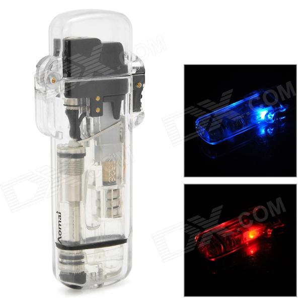 AM265 Windproof Plastic Butane Jet Lighter w/ LED Flashlight - Transparent (3 x AG3)