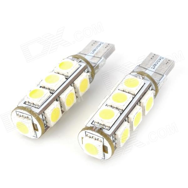 SENCART T10 1.25W 182lm 13-SMD 5050 LED White Light Car Indicator Lamp - White (12V / 2 PCS) 5x t10 168 194 2825 w5w for cree chip led replacement bulbs car license plate parking lights lens white yellow blue red pink