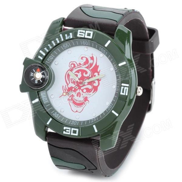 Flame Skeleton Style Silicone Band Round Dial Quartz Wrist Watch w/ Compass - Camouflage (1 x 377)