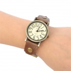 Retro Water Resistant PU Leather Rivet Band Round Dial Quartz Wrist Watch - Bronze + Brown (1 x 377)