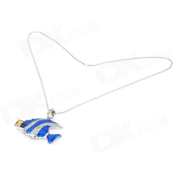 U-5-081 Tropical Fish Necklace Style w/ Rhinestone USB 2.0 Flash Drive - Silver + Blue (8GB) рекламный щит dz 5 1 j1d 081 jndx 1 s d