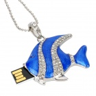 U-5-081 Tropical Fish Necklace Style w/ Rhinestone USB 2.0 Flash Drive - Silver + Blue (8GB)
