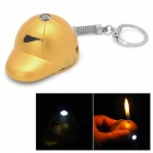 Golf Cap Style ABS Butane Lighter w/ LED Flashlight / Keychain - Golden (3 x LR41)